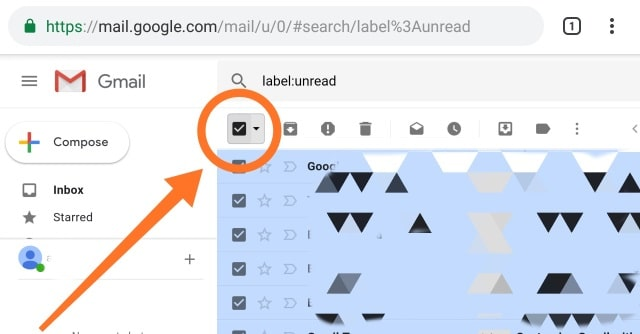 gmail label and select