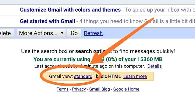 gmail standard version