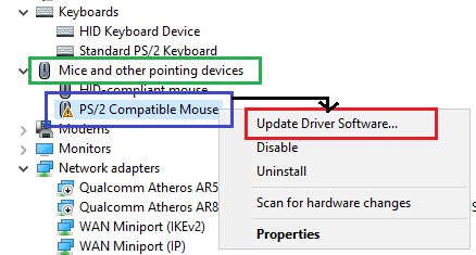 device manager windows mouse disabled